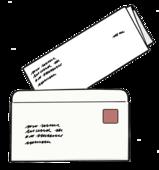 Das Bild zeigt einen offenen Briefumschlag.
