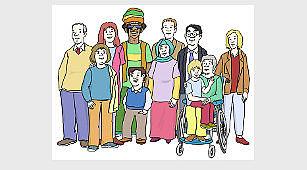 Das Bild zeigt viele Menschen. Die Menschen stehen eng zusammen. Ein Mann sitzt im Rollstuhl.