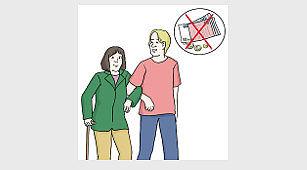 Das Bild zeigt einen jungen Mann. Der Mann stützt eine alte Frau. Ein Geldschein ist zu sehen. Der Schein ist durchgestrichen.