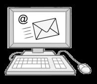 Das Bild zeigt einen Computer. Auf dem Bildschirm ist ein Brief