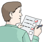 Dsa Bild zeigt einen Mann. Er hat einen Stift und ein Papier in der Hand. Mit dem Stift hakt er die Punkte auf dem Papier ab.