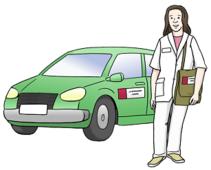 Das Bild zeigt eine Frau. Die Frau hat einen weißen Mantel an. Sie trägt eine Arzt-tasche. Daneben steht ein Auto.