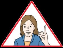 Das Bild zeigt eine Frau. Die Frau hebt ihren Zeigefinger hoch.