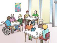 Das Bild zeigt drei Tische. An den Tischen sitzen viele Menschen. Sie unterhalten sich.