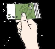 Das Bild zeigt eine Hand. Die Hand hält einen 5-Euro-Schein.