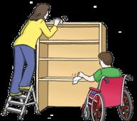 Unterstützung -  Das Bild zeigt eine Frau und einen Mann im Rollstuhl. Die Frau putzt einen Schrank.