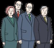 Das Bild zeigt drei Männer und eine Frau. Die Männer und die Frau haben Anzüge an.
